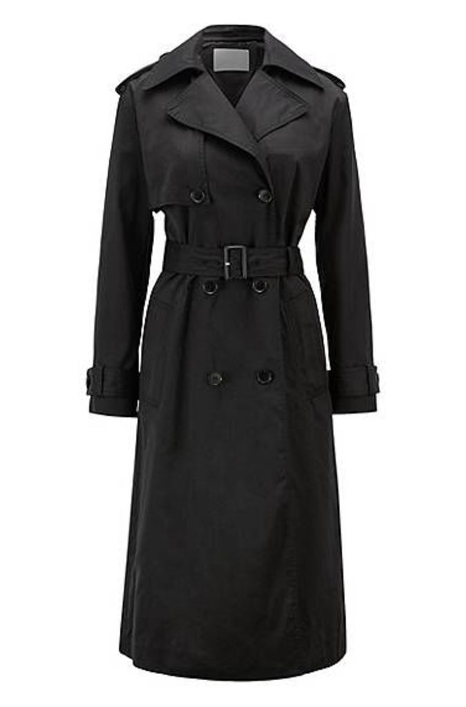 Double-breasted trench coat in water-repellent twill