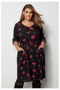 Womens Yours Curve Floral Skater Dress -  Black