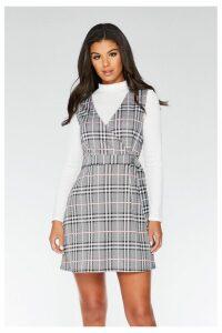 Womens Quiz Check Pinafore Dress -  Grey