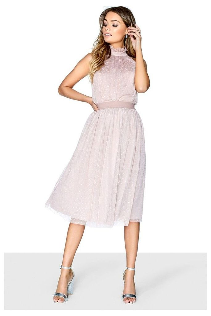 Womens Little Mistress Dotty Mesh Bridesmaid Skirt -  Pink