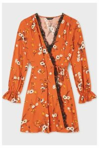 Womens Miss Selfridge Cinnamon Floral Wrap Dress -  Brown