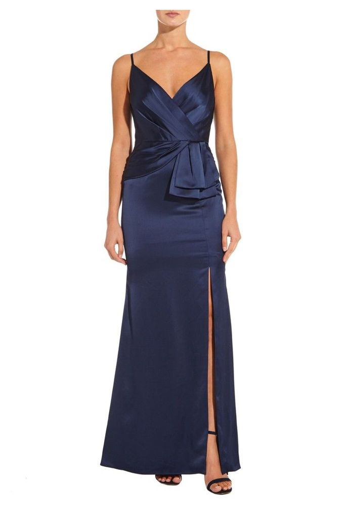 Womens Adrianna Papell Navy Light Satin Dress -  Blue