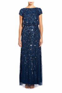 Womens Adrianna Papell Blue Beaded Long Dress -  Blue