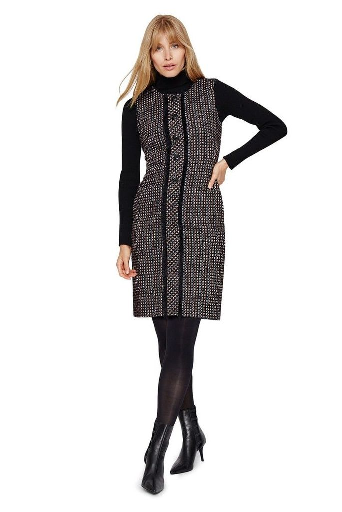 Womens Damsel In A Dress Black Amara Tweed Dress -  Blue