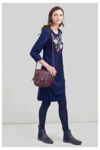 Womens Joules Alison Long Sleeve Woven Dress -  Blue