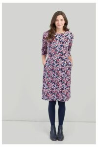 Womens Joules Beth 34 Ponte Dress With 3/4 Sleeves -  Blue