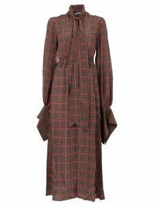 Rokh checked midi dress - Brown