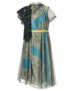 Kolor floral panelled belted dress - Silver