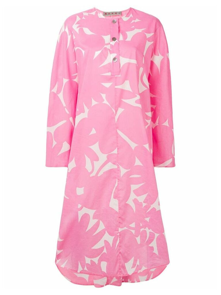 Marni floral print shirt dress - Pink