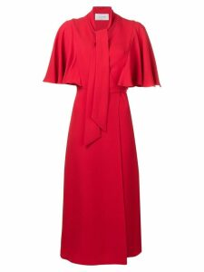 Valentino lace up detailed dress - Red
