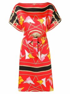 MSGM nautical print belted midi dress - Red