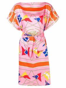 MSGM nautical print belted midi dress - Pink