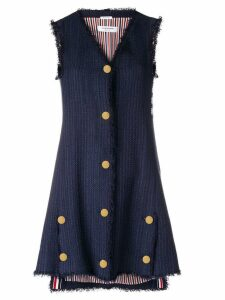 Thom Browne Frayed Tweed Mini A-Line Vest Dress - Blue