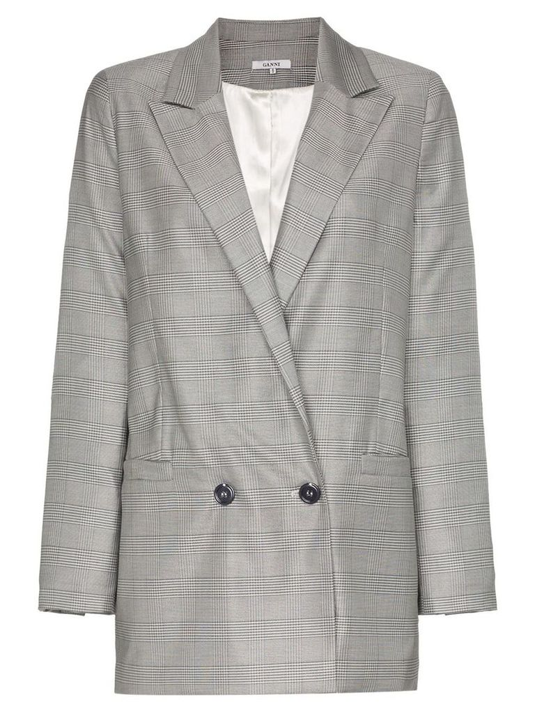 Ganni Merkel double-breasted checked blazer - Grey