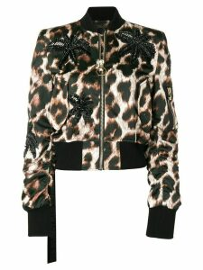 Philipp Plein leopard print cropped jacket - Black
