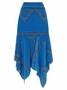 Ganni Cloverdale silk printed asymmetric midi skirt - Blue