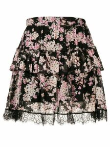 Twin-Set floral print tiered skirt - Black