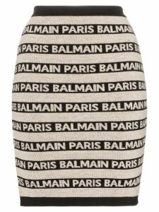 Balmain Knit stretch logo skirt - Neutrals