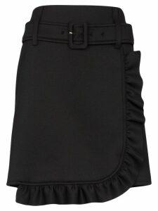 Prada belted ruffle mini skirt - Black