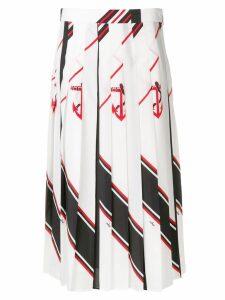 MSGM pleated nautical print skirt - White