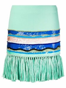 Emilio Pucci Raffia Fringe Hemline Sequin Skirt - Green