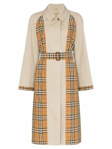 Burberry Guisley check print panelled cotton trench coat - Neutrals