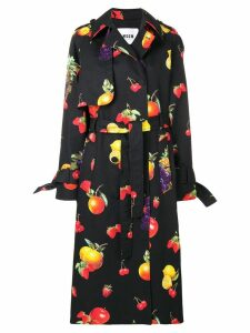 MSGM fruit print trench coat - Black