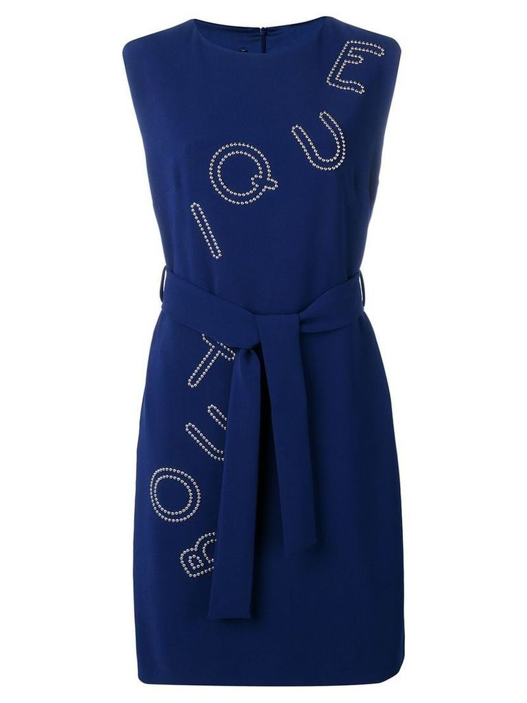Boutique Moschino studded logo dress - Blue
