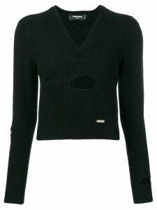 Dsquared2 ripped appliqué V-neck sweater - Black
