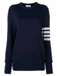 Thom Browne 4-Bar Milano Stitch Silk Pullover - Blue