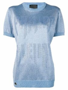 Philipp Plein logo embellished knitted top - Blue
