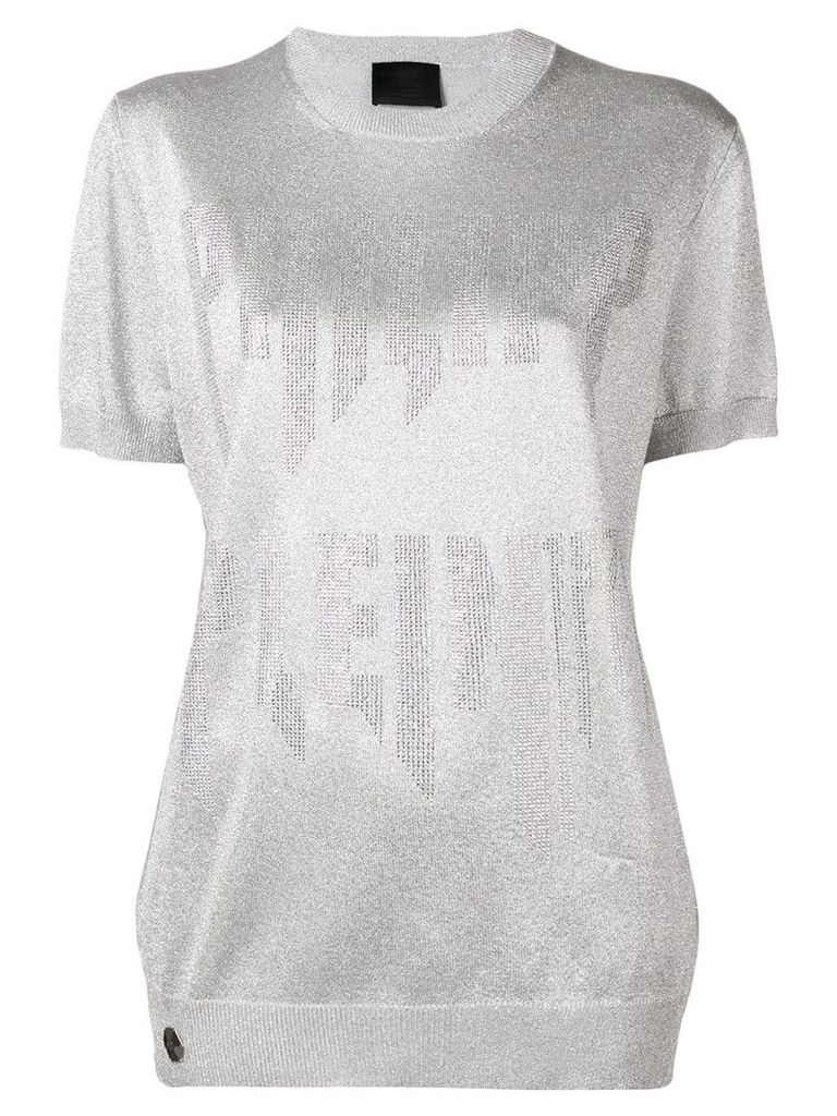 Philipp Plein logo embellished knitted top - Silver