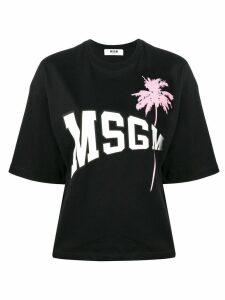 MSGM logo palm tree T-shirt - Black