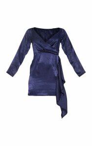 Navy Satin Wrap Frill Detail Bodycon Dress, Blue