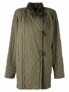 Yves Saint Laurent Pre-Owned fur trim padded jacket - Green