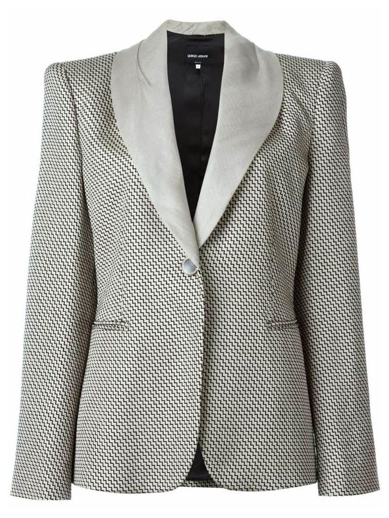 Giorgio Armani Vintage zig zag woven blazer - Neutrals