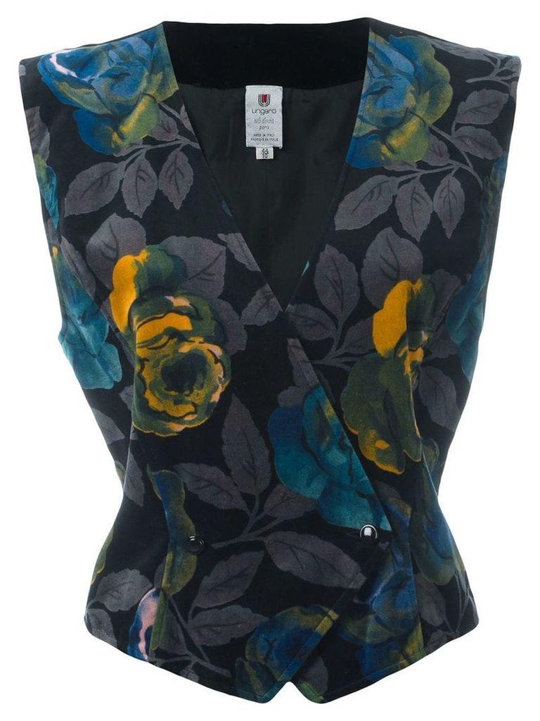Emanuel Ungaro Vintage floral print velvet waistcoat - Black
