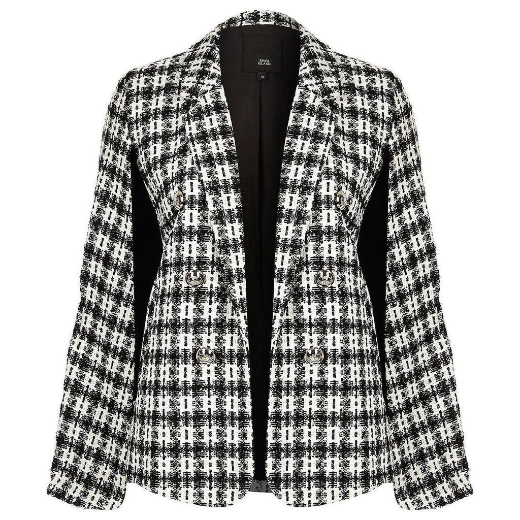 Womens Black check boucle cape jacket