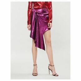 Asymmetric draped sequinned mini skirt