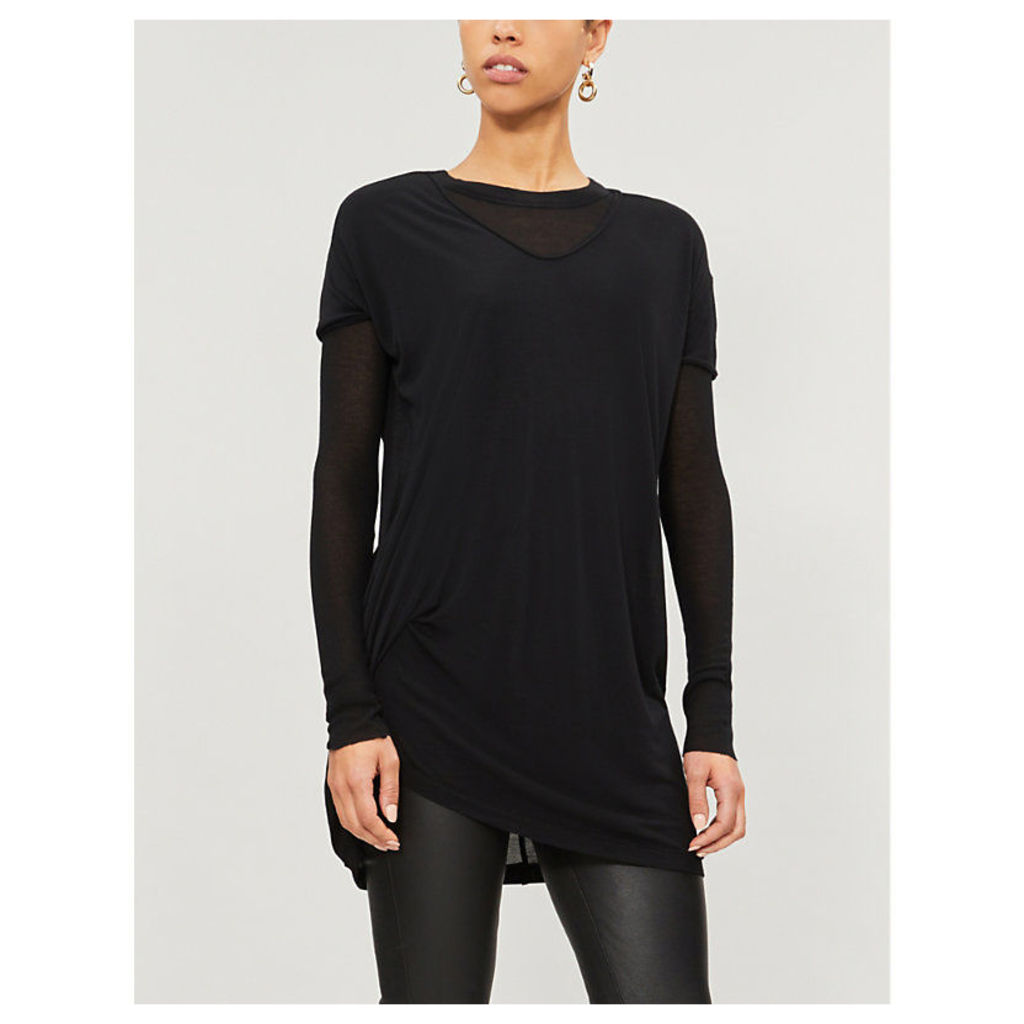 Asymmetric longline stretch-jersey T-shirt