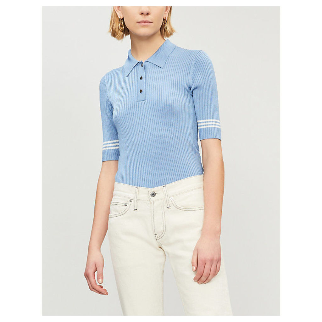Striped-sleeve knitted polo shirt