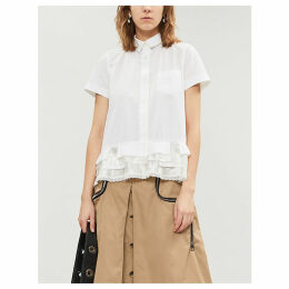 Lace-trim cotton-poplin shirt