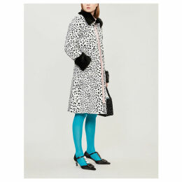 Leo contrast-collar leopard-print faux-fur coat