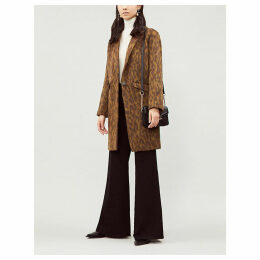 Ba&Sh Women's Brown and Black Wandro Leopard-Print Brushed Coat