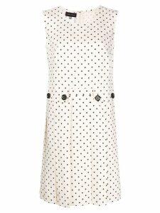 Talbot Runhof polka dot pleated dress - White