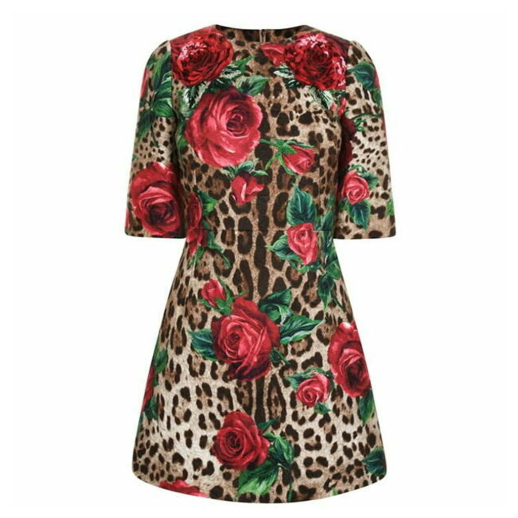 DOLCE AND GABBANA Leopard Print Rose Dress