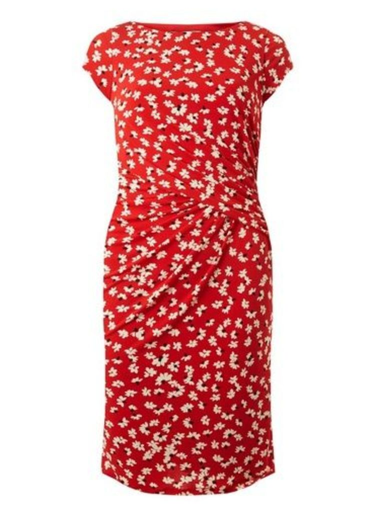 Womens **Lily & Franc Coral Daisy Print Dress, Coral