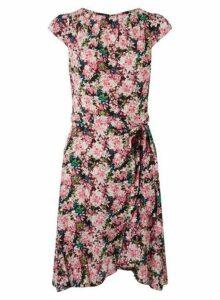 Womens **Billie & Blossom Pink Ditsy Print Ruffle Skater Dress- Black, Black