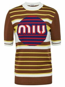 Miu Miu logo knit pullover - Brown