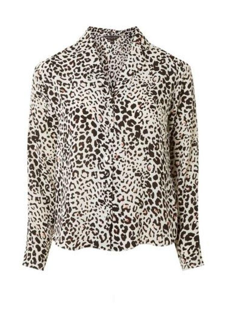Womens Ivory Leopard Print Pyjama Style Shirt- Ivory, Ivory